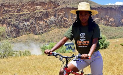 lady cycling in hell's gate national park